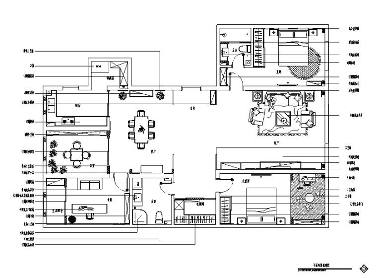 雅致空间原味.新中式三居室样板房设计施工图(附效果图)