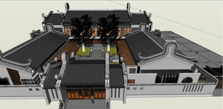 中式古建庭院景观模型.skp