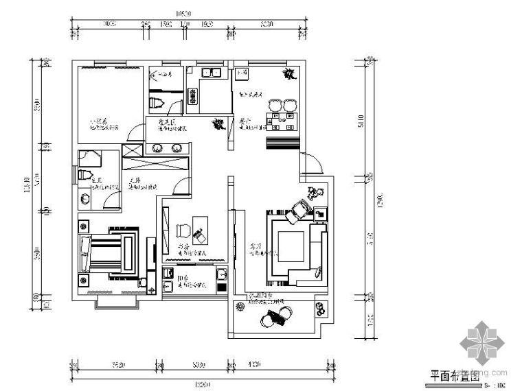 [上海]某小区三室两厅设计图纸(含效果和实景)