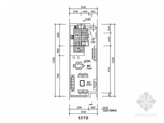 某三层联排别墅平面图(北入口、182平方米)