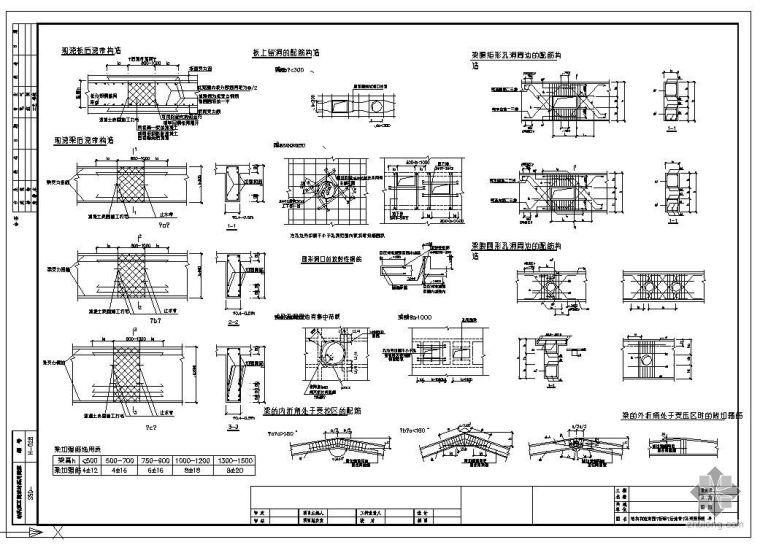 某结构节点构造详图(折梁、后浇带、孔洞加强)(图集)