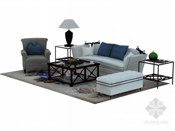 欧式舒适沙发3D模型下载