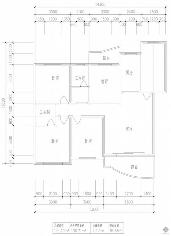 板式多层单户三室一厅二卫户型图(144)