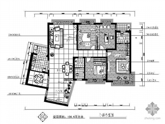 [湖南]简约四居室设计图