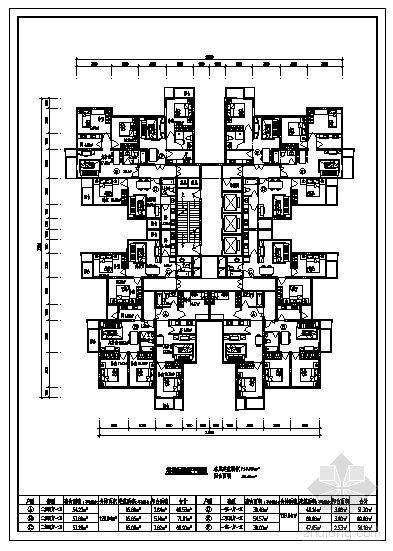 塔楼住宅建筑标准层平面图(720m2)