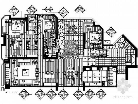 258平米豪华套房三居室平面施工图