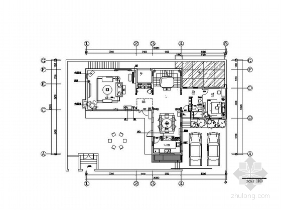 [北京]原创美式乡村风格双层别墅室内设计施工图(含实景图)