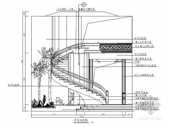 [苏州]风景秀丽生态园区A2型欧式风情三层别墅装修施工图客厅立面图
