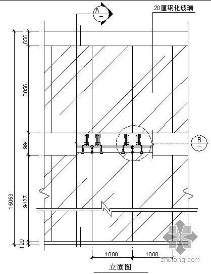 某吊挂式玻璃幕墙节点构造详图(三)(立面图)