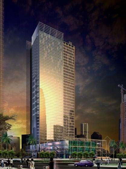 [广东]现代风格超高层商务办公建筑设计方案文本(含CAD)-现代风格超高层商务办公建筑效果图