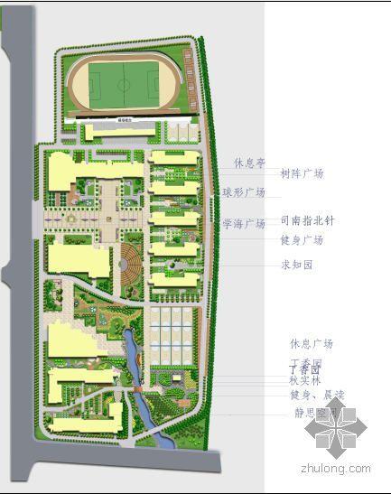 内蒙古乌海市某中学校园规划平面图
