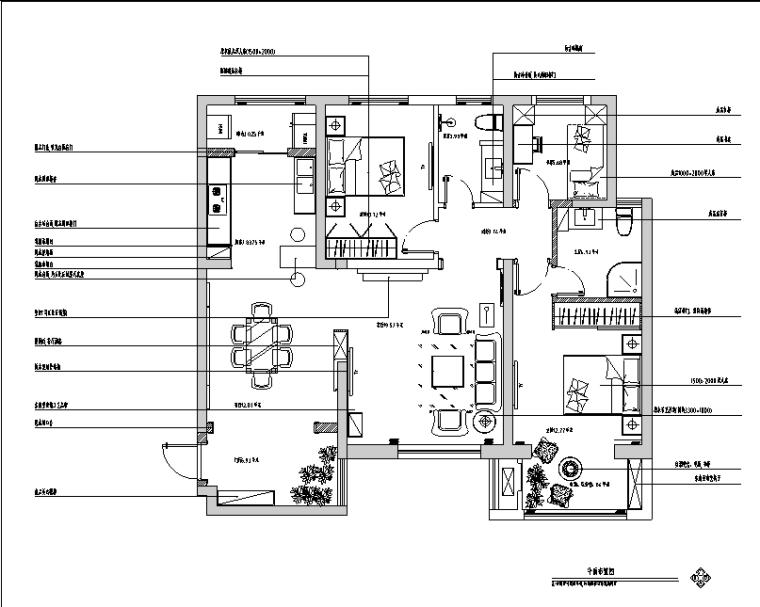 [湖北]咸阳清渭公馆B户型样板房设计施工图(附效果图)