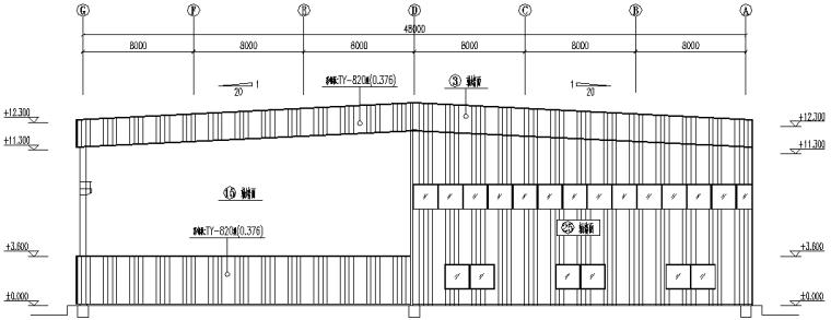 湖北门式刚架钢结构厂房施工图(CAD,12张)_6