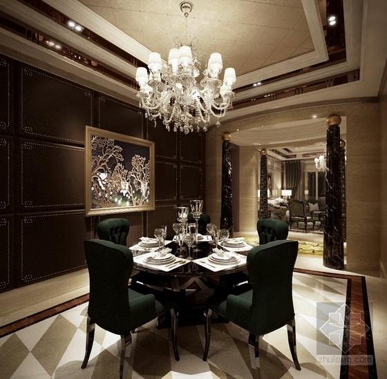 [温州]低调奢华欧式风格四居室样板间装修图(含效果)大样图