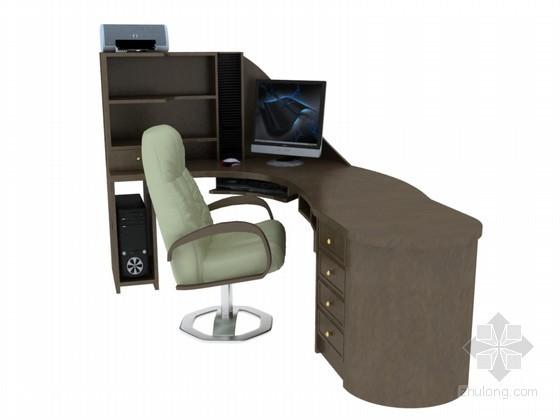 高档办公桌3D模型下载