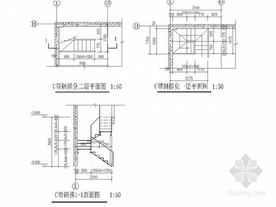 地下室加建钢爬梯建筑及结构图-C户负二层地下室钢梯