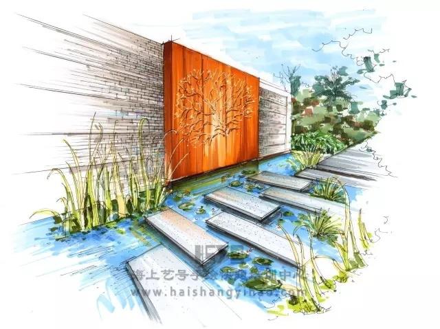 景墙的画法步骤图解析:庭院中间有道墙_4