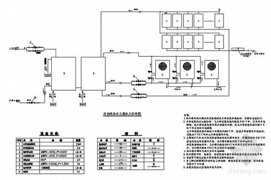 某宿舍太阳能-热泵热水系统图