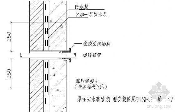 柔性防水套管穿池壁做法详图