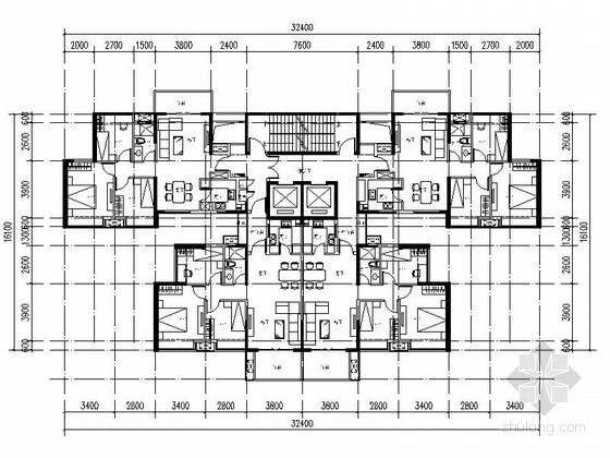 [万科户型]一核四户高层住宅户型平面图(354平方米)