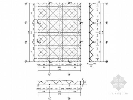 逸夫图书馆网架采光工程结构施工图(含计算简图)