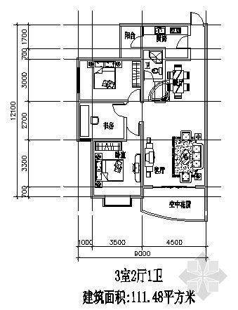 三室两厅一厨一卫111.48平方米