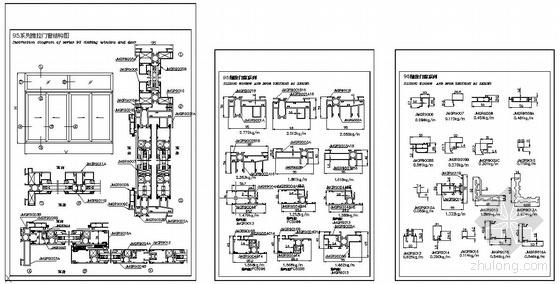 某公司95系列推拉门窗结构图