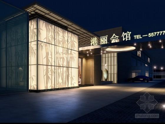 会馆外立面建筑3d模型下载