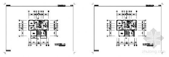 N型户型转角平面图
