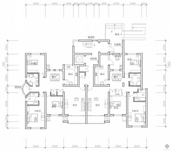 板式高层一梯两户三室二厅二卫户型图(143/136)