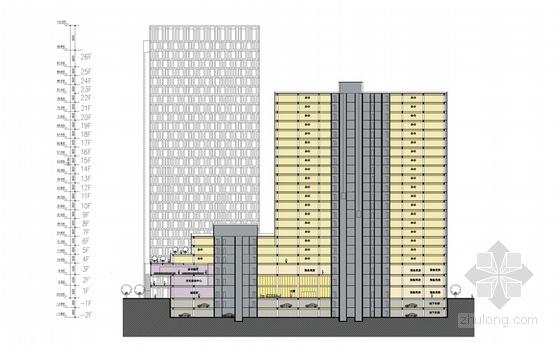 [湖南]点式塔楼高层科技办公大厦建筑设计方案文本-点式塔楼高层科技办公大厦剖面图