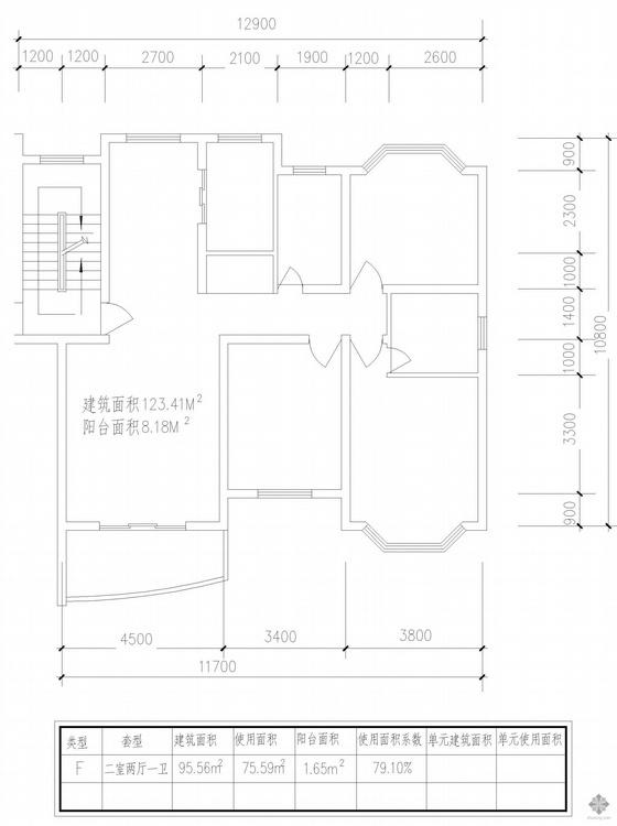 板式多层单户二室二厅一卫户型图(96)