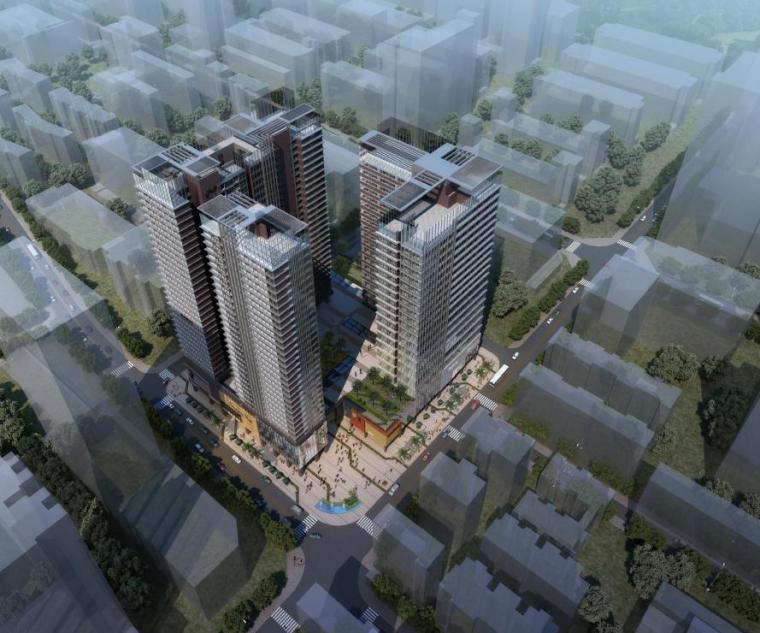 [深圳]高层现代风格半围合式布局商务公寓楼建筑设计方案文本