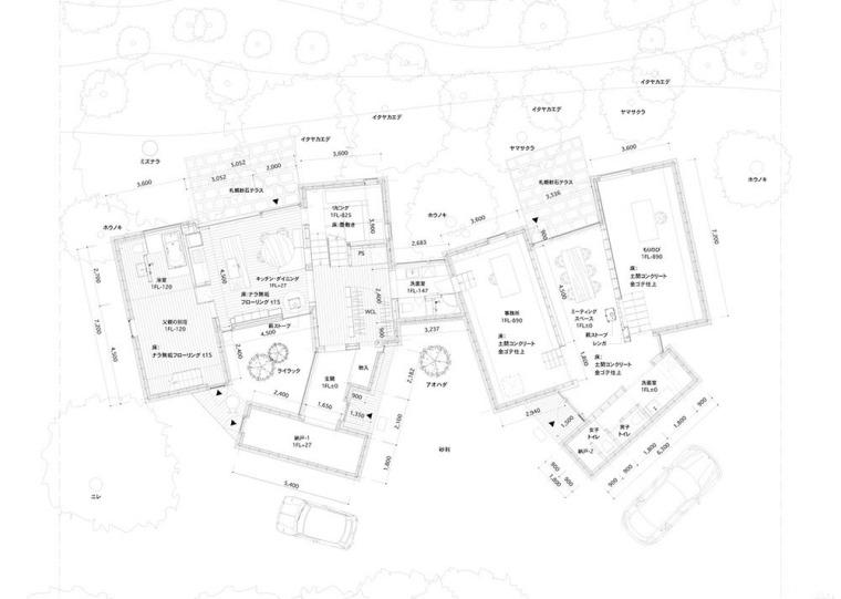 日本多层次空间木结构办公建筑平面图(11)