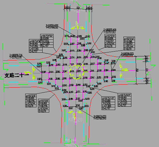 [湖南]两车道支路城市设计图84张CAD(含v车道cadtxtexp图片