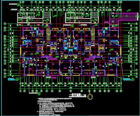 某十八层高层住宅楼建筑设计施工图(共20张)-一层平面图.png