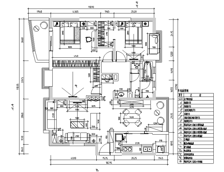 天和国际混搭风格样板间设计施工图(附效果图)