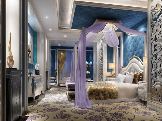 舒适豪华卧室3D模型下载