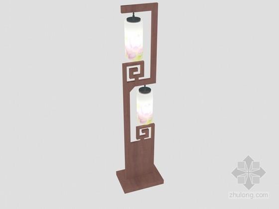 中式双落地灯3D模型下载