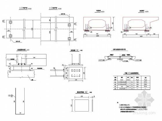 2×10m预应力混凝土简支空心板桥固定支座布置详图