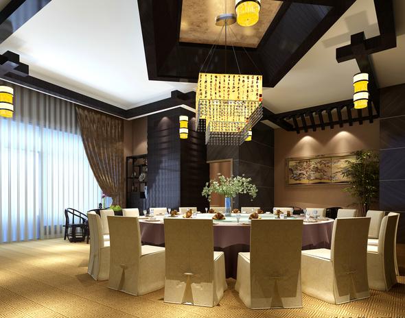 混搭风格茶餐厅设计CAD施工图(含效果图)_8
