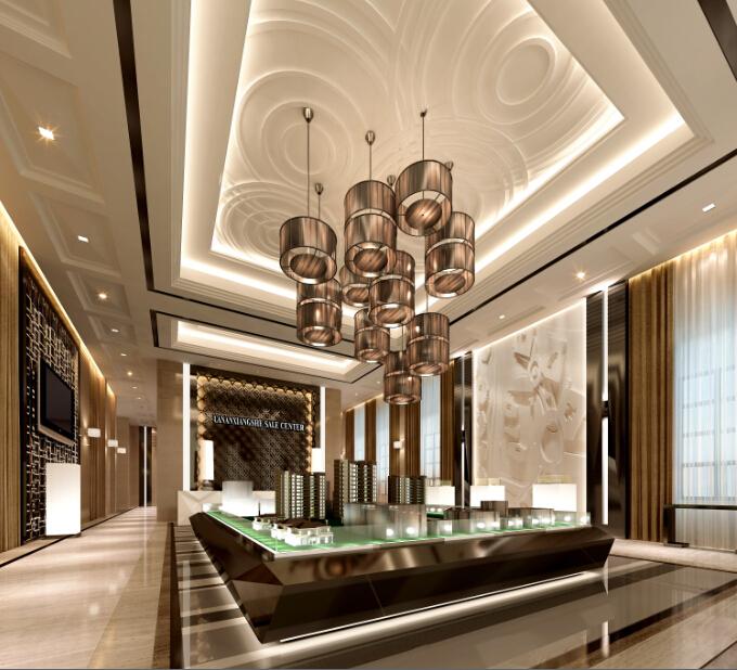 [南昌]精致奢华高端售楼处室内设计施工图(含效果图)