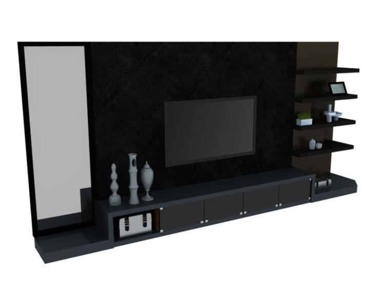 现代电视墙3D模型下载