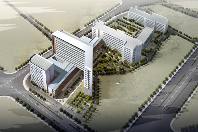 [福建]现代立体感人民医院病房门诊综合楼建筑设计方案文本