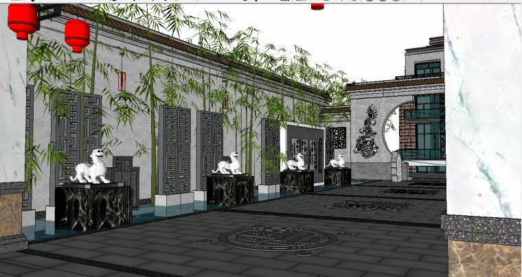 住宅精品现代中式庭院3d模型下载
