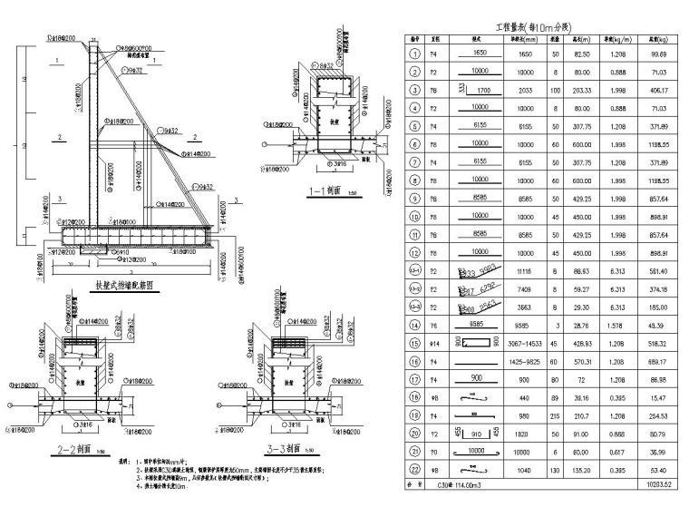 4-12米扶壁式挡土墙设计图10张