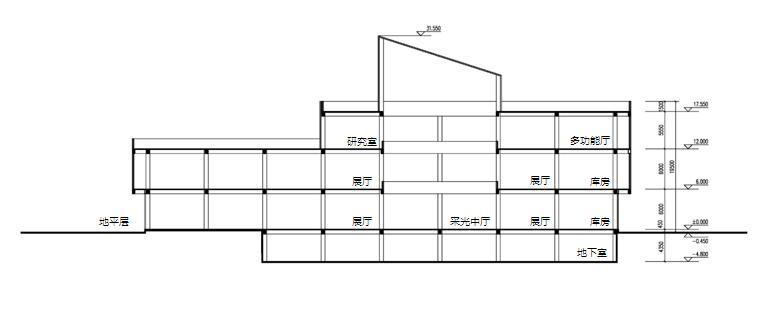 [四川]现代风格石材外墙科技展览馆重建建筑设计方案文本-现代风格石材外墙科技展览馆重建建筑剖面图