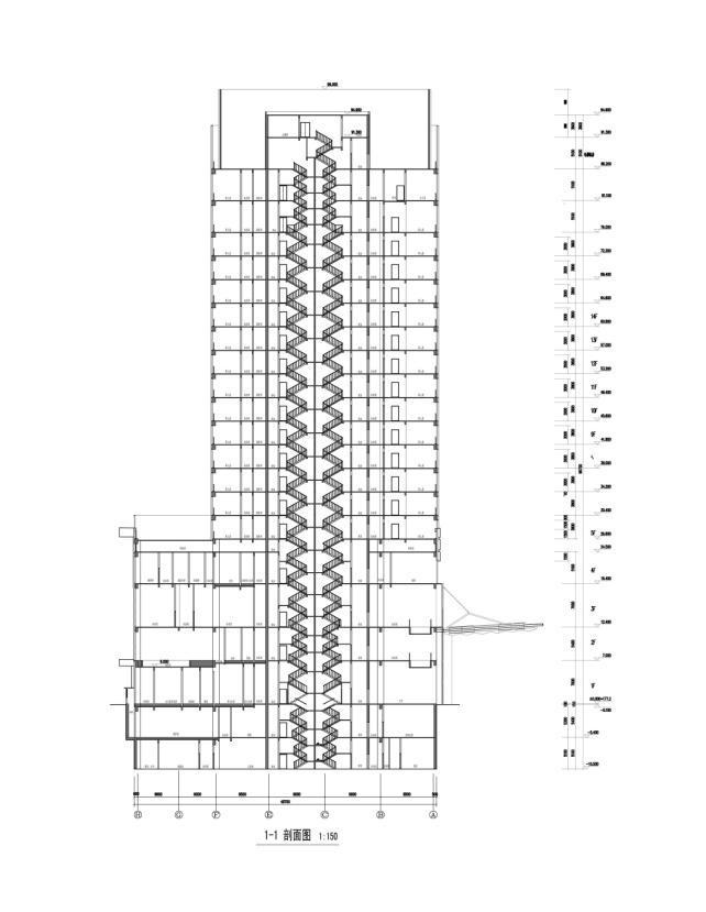 [重庆]高层知名玻璃幕墙酒店建筑立面设计施工图(含效果图)-高层知名玻璃幕墙酒店建筑剖面图