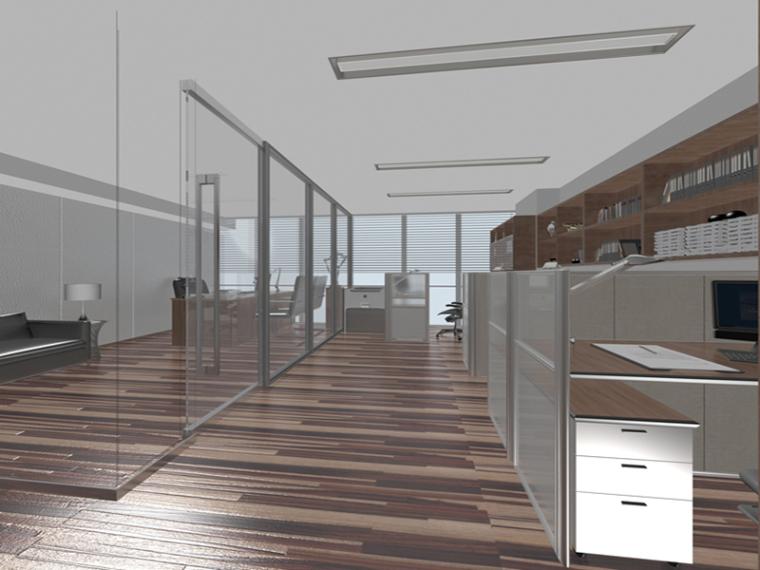 简洁办公室3D模型下载