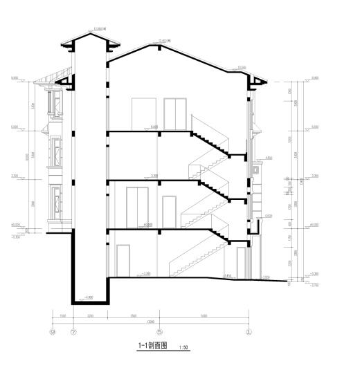 三层典雅式石材外墙独栋住宅建筑剖面图